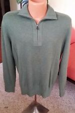 NEW: Banana Republic Cashmere and Cotton Zipneck Sweater Men's M Green