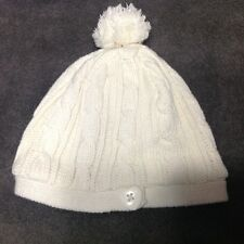Children's Place Girls IVORY Cable Knit fleece lined Hat Size 10-14