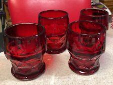 Set of 4 VINTAGE 'Georgian' Ruby Red Thumbprint 8 oz. Flat Footed Tumbler