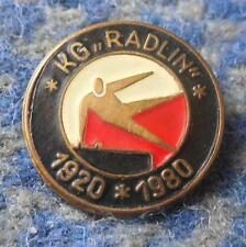 KG RADLIN 60 ANNIVERSARY / 1920-1980 / POLAND GYMNASTICS CLUB RED PIN BADGE