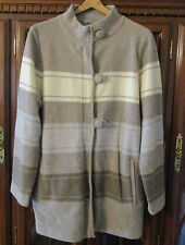Pendleton Cardigan Sweater XL Lambswool Womens Brown Cream Zip Pockets Loop New