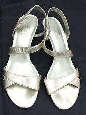 TALBOTS Metalic Gold Leather Heels Slingbacks Sandals  Sz 8.5 M Comfort Low Heel