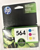 GENUINE HP 564 Cyan, Magenta & Yellow 3 Ink Cartridges NEW Exp 04/2020 FRESH