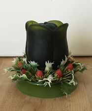Vintage Paragon Green Glass Tulip Shaped Christmas Votive Candle Holder + Candle