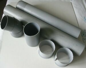 Assortment of Grey 90mm PVC Drainpipe oddments and 45°Bend