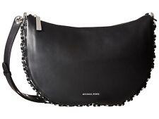 New Michael Kors black Leather Piper Medium Messenger Bag Silver chain detail