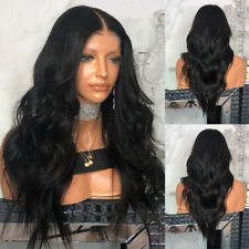 Women Black Synthetic Lace Front Wig Long Wigs Wavy Full Wigs Curly Lolita New