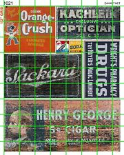 1021 DAVE'S HO SCALE DECALS GHOST SIGNS PACKARD DRUGS SODA CIGARS ADVERTISING
