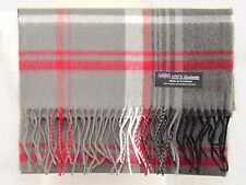100% CASHMERE Scarf Gray Black Check Plaid Warm Graham SCOTLAND Wool Men JSF