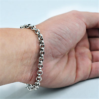 925 Sterling Silver Belcher Bracelet Chain 4mm Mens Women Handmade Jewelry Gift