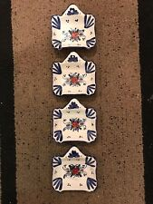 SET OF 4 VINTAGE HAND PAINTED HANDLED DISHES TALAVERA STYLE MEXICO ITALY