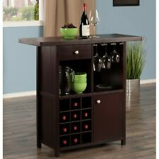 Mini Bar Liquor Cabinet Home Wine Storage Stemware Rack Pub Buffet Server Brown