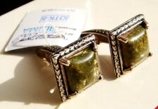 NOT USED VINTAGE RUSSIAN 925 STERLING SILVER JASPER CUFFLINKS with BOX TAGS
