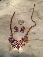 Vintage '1950 pink borealis crystal rhinestone SHERMAN necklace/earrings set