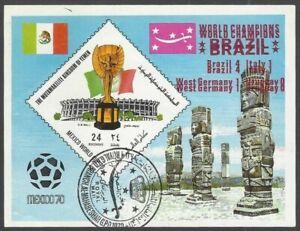 Yemen 1970 Football World Cup Winners BRAZIL with OVERPRINT DOUBLE