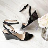 Prada Wedge Ankle Strap Heel Sandal Black Patent Leather US 6.5 M $695