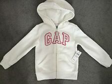GAP-OFF WHITE ZIP UP HOODIE WITH GLITTERY LOGO EDGED IN PINK & SILVER -2y- BNWT
