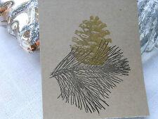 10 Buff Pine Cone  Christmas Gift Tags Handmade Vintage Style