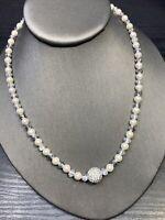 "Ladies Vintage Quality Silver Crystal Beaded Rhinestone  Pearl Necklace 18"""