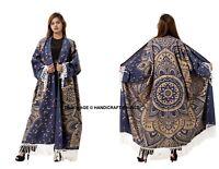 Women Beach Cotton Cardigan Loose Shawl Kimono Ombre Mandala Bikini Cover Tops