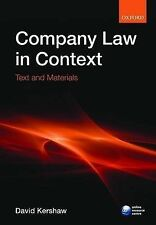 Company Law in Context: Text and Materials by David Kershaw (Paperback, 2009)