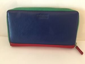Golunski Genuine Leather Ladies Zip Around Purse/Wallet, Multicoloured