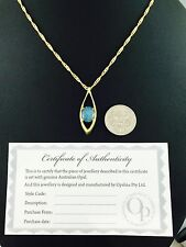 Lightning Ridge Triplet Opal Necklace Pendant Twice 18ct Gold Plated / Cert