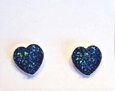 SPARKLING DRUZY RESIN PEACOCK BLUE HEART SILVER EARRINGS 12MM