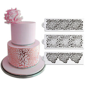 3pcs Rose Decorating Stencil for Wedding Cake Airbrush Stencil Plastic Templ SE