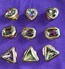 Set Of 9 Various Shaped 1990's Button Covers Gold Tone & Multi Colored Jewel