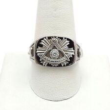 10k White Gold Masonic Past Master Freemason Diamond Black Enamel Mens Ring 11gr