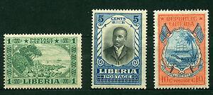 LIBERIA 1921, Cape Mesurado,Pres.Daniel E.Howard,Arms of Liberia, SC#183-85 MVLH
