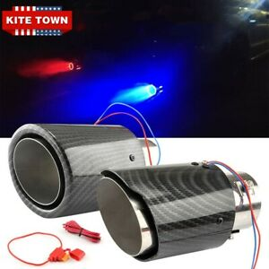 Red/Blue Universal Exhaust Muffler Tip Tail Pipe Luminous For 35-63mm Inlet