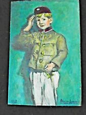 "Adrien Jancsek Art Oil  Painting Uniformed Child in Salute 1992  6x8"" Dutch"