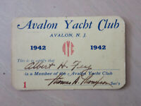 Vintage Avalon Yacht Club Membership Card  First Year 1942 Rare New Jersey