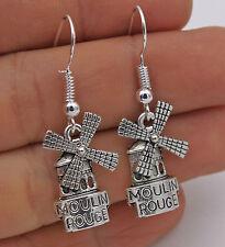 925 Silver Plated Hook - 1.6'' Moulin Rouge Windmill Retro Silver Earrings #61