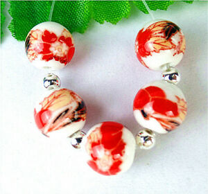5Pcs 10mm White&Red Ceramic Applique Height Holes Ball Bead AP60275
