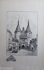 Albert ROBIDA Porte La Craffe NANCY Grande Lithographie originale Signée 32/125
