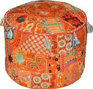 """Indian Handmade 22"""" inches Orange Round Pouf Cover Cotton Patchwork Fabric Decor"""