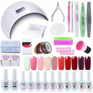Elite99 12pcs Gel Nail Polish Starter Kit Manicure Tool Set UV LED Lamp Base Top