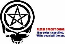 "Pentacle Wiccan Pagan Skull Decal Sticker JDM Vinyl Car Window Bumper Truck 7"""