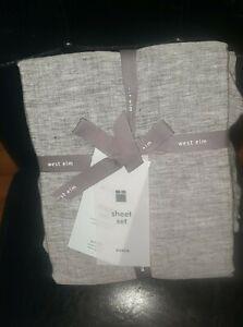 West Elm Belgian Flax Linen Melange Queen Sheet Set - Brand New!