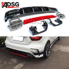 For Mercedes Benz A Class W176 Carbon Fiber Rear Bumper Diffuser Lip A45 13-16