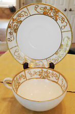 NIPPON TEACUP & SAUCER White with GOLD MORIAGE Flowers Rose Pattern Hand Painted