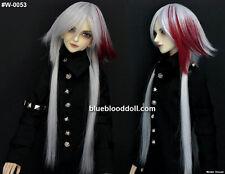 "1/6 bjd or 1/4 bjd 6-7"" doll wig silver with red long hair dollfie minifee W-53S"