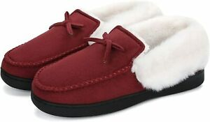 Mishansha Womens House Shoes Memory Foam Suede Moccasin Slippers Winter Warm Fle