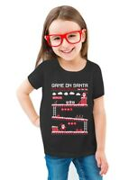 Santa 8bit Video Game gamers Ugly Christmas Toddler/Kids Girls' Fitted T-Shirt