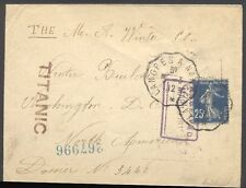 """Envelope Intended for and Stamped """"TITANIC"""" w/Cert"""