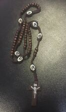 Dark Brown Rope Wooden Beads Religious Necklace Rosary With Jesus On Cross (1)