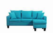 Modern Linen Fabric Small Space Sectional Sofa with Reversible Chaise in Blue